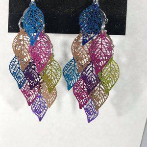Drop Earrings Multi color Lazer Cut Leaves